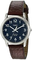 Timex Mens Easy Reader Brown Leather Strap Silver-Tone Case Blue Dial T2P319