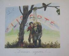 WW2 GUERRE 39 - 45 GRAVURE CARICATURE SATIRIQUE HITLER DERNIER ESPOIR PENDAISON