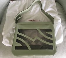 SALVATORE FERRAGAMO Mint Green Leather & Clear Shoulder, S/M Tote Handbag Purse