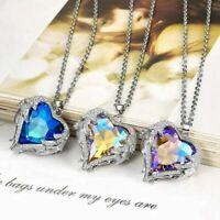 Fashion Women Angel Wing Necklace Heart Rhinestone Crystal Chain Pendant Jewelry