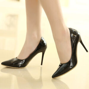 Women High Stiletto Heel Patent Leather Pump Sexy Pointy Toe Glitter Shoes Party