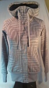 Billa Bong Jacket, Women's Size S, Gray Animal Print, Hooded, Zip-Up, Thumbholes