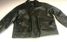 Vintage Lee dungaree  Black faux leather jacket with quilted lining. XL