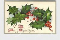 PPC POSTCARD MERRY CHRISTMAS HOLLY LEAVES AND BERRIES TUCK & SONS GOLD EMBOSSED