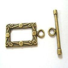 10 Set tono bronzo Rettangolo attiva / disattiva Fermagli-A6430