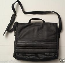 """Black Leather Cross body Messenger Bag 12"""" x 10"""" made in INDIA"""