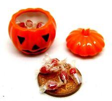 1:12 Scale Filled Ceramic Pumpkin Face Tumdee Dolls House Kitchen Halloween WT