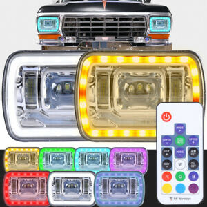 7X6 RGB MULTI COLOR LED SMD Halo Headlights 7X6 H6014/H6052/H6054 SET PAIR SEALE