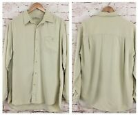 Tommy Bahama Mens Shirt Beige 100% Silk Long Sleeved Button Up