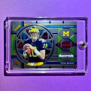Tom Brady PANINI PRIZM DRAFT PICKS MICHIGAN STAINED GLASS EMBOSSED CARD - Mint!