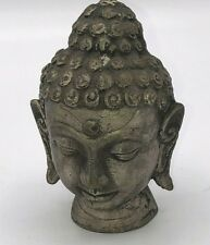 "Antique 4"" Silver Plated Sandcast Metal Nepal Shaman Buddha Head Figure Vintage"