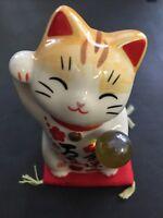 Pottery Maneki Neko Beckoning Lucky Cat 7541 Money Good Luck 90mm MADE IN JAPAN