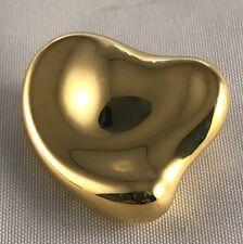 Rare Tiffany & Co Elsa Peretti 750 Yellow SPAIN Full Heart Mirror Pin Brooch