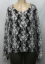 Style & Co Women's Sweater Cardigan Long Sleeve White/Black Size L