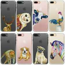 Pug Phone Case, Animal/Zebra/Cow/Bulldog on Clear Hard Cover For Apple iPhone