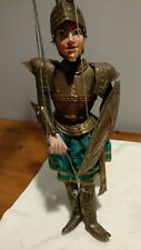 """Vintage handmade rod string puppet, Knight with coat of armor. Wood, metal. 16""""."""