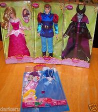 Disney Princess AURORA Prince PHILLIP 24 pc Doll SET w/ Accessories & MALEFICENT