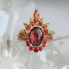 3pcs Fire Sun Red Rhinestone Stacking Finger Rings Women Charm Jewelry Dreamed