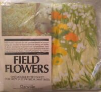 New Vintage Danville Field Flowers Floral Full / Double Fitted Sheet Dan River