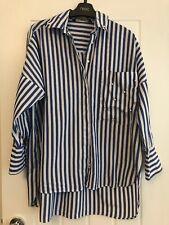Zara Blue White Striped Jewelled Cotton Shirt Sz S