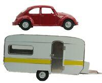 Trailer & VW Beetle Set - Bundle - O Scale - Metal - Kovap - Railroad Vehicles