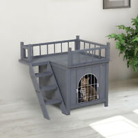 PawHut 2-Story Indoor/Outdoor Wood Cat Dog House Shelter