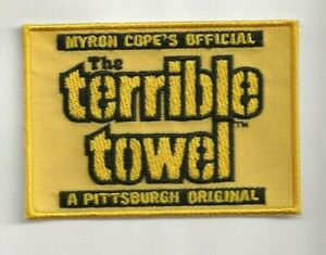 """NEW 2 1/2 X 3 1/2"""" STEELERS YELLOW TERRIBLE TOWEL IRON ON PATCH FREE SHIP P1"""