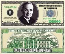 $100,000 Poker Play Money Dollar Bill ~ Truman ~ Fake Funny Money Novelty Note