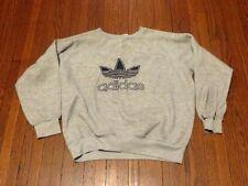 Women's VTG 80's 90's Adidas Trefoil Logo Grey Navy Sweatshirt sz M