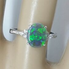SOLID Black OPAL Ring Lighting Ridge Blue Green 18ct Gold Diamonds New Size M.5