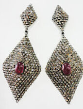Victorian Look 925 Silver Dangler Earring 11.35cts Rose Cut Diamond Ruby Antique