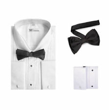 Men's Tuxedo Dress Shirt Point Collar and French Cuff with Bow-Tie Set 11B