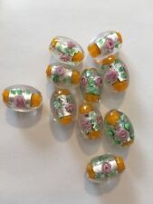 10 - 10X18 Yellow Rose Glass Foil Oval Beads L@@K SALE!! #41