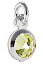 5 STERLING SILVER ROUND CHARMS WITH YELLOW CRYSTAL & OPEN JUMP RING, 6 MM