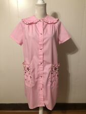 Vintage Pearl Snap Front House Dress Duster Robe Mumu Size S-M