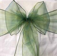 50x Emerald Green Organza Chair Sashes Bow Wedding Banquet Party Ceremony Decor