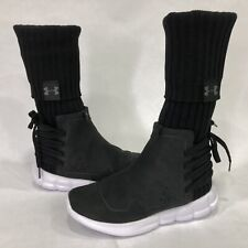 Under Armour Sport Women Black White Wedge Socks Hi Top Boots New Sz 6