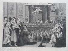 Incisione ORIGINALE antiquario; un Predicatore Giapponese-c1850-Giappone, RELIGIONE