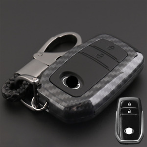 Carbon Fiber Design Shell+Silicone Cover Holder Fob Case For Toyota Remote Key G
