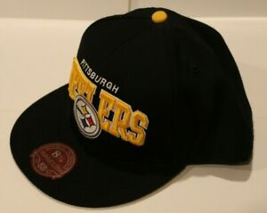 NWT NFL Pittsburgh Steelers  Mitchell & Ness Fitted Black Arch Hat Size 8 1/2
