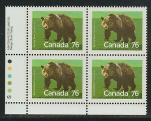 1989 Canada SC# 1178i LL - Grizzly Bear Int. Rate - Plate Block M-NH Lot # 3159