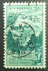 1011 used 1952 3c Mount Rushmore Black Hills South Dakota Washington Jefferson