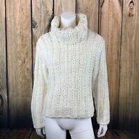 Lisa International Wool Blend Gold Metallic Lurex Chunky Turtleneck Sweater