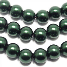20 cuentas Nacaradas 10mm Verde oscuro cristal de Bohemía