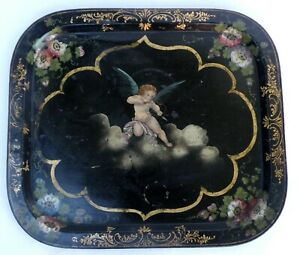 ANTIQUE 19ct French TOLE TRAY CUPIDON ANGEL DECOR