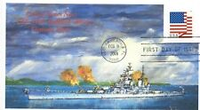 USS NEW JERSEY BB-62 Battleship Vietnam Museum Ship Color Painting First Day PM