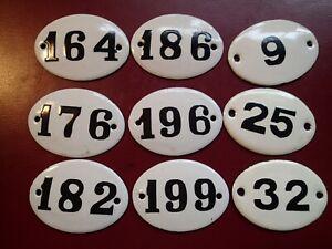 a) Lot of 9 , 1950-s VINTAGE OLD ENAMEL HEAVY METAL HOUSE HOME DOOR SIGN NUMBERS