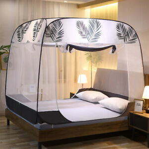 2021 summer bed netting Mongolian mosquito net square top Queen size Maple leaf