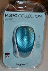 Logitech M317C wireless mini laptop travel mouse new teal maze nano adapter