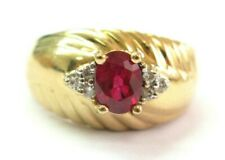 Oval Ruby & Diamond Yellow Gold Ring Solid 14Kt 1.02Ct 07Ct SIZEABLE H-I / VS2